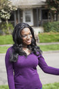 image photo : Young African American Woman in Purple Top