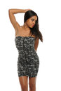 Young African American Woman Wearing a short dress Royalty Free Stock Photos