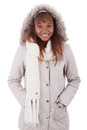 Young african american woman wearing winter clothes Stock Images