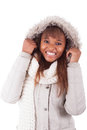 Young african american woman wearing winter clothes Stock Image