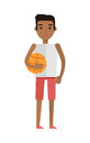 Young African Black Man with Ball Isolated