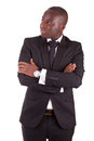 Young african business man with folded arms Royalty Free Stock Images