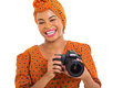 Young african photographer close up portrait of holding a camera Royalty Free Stock Photography