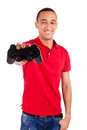 Young african using a gaming console isolated Royalty Free Stock Photography