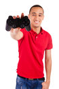 Young african using a gaming console isolated Stock Photos
