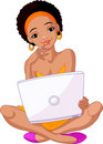 Young African woman sitting on cushion with laptop Stock Images