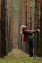 Young alone women in forest Royalty Free Stock Photography