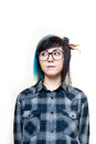Young alternative girl neutral portrait with glasses in blue shirt on white background Stock Photos