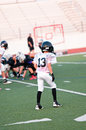 Young american football player youth on defense Stock Image