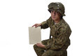 Young american soldier shows a letter in camouflage uniform Stock Image