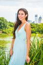 Young American Woman traveling, relaxing at Central Park, New Yo Royalty Free Stock Photo