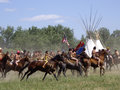 Young americans crow agency montana usa – june reenactment by cavalry soldiers and american indians of battle of the little Stock Photos