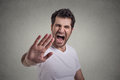Young angry man screaming to stop stay away portrait of Royalty Free Stock Photos