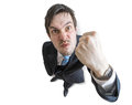 Young angry manager is threatening with fist. Isolated on white background. View from top Royalty Free Stock Photo