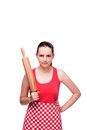 The young angry woman with rolling pin isolated on white Royalty Free Stock Photo