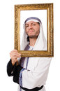 Young arab with picture frame on white Stock Photo