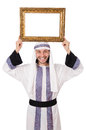 Young arab with picture frame on white Royalty Free Stock Photos