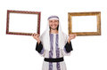 Young arab with picture frame on white Royalty Free Stock Photo