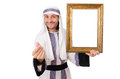 Young arab with picture frame on white Royalty Free Stock Image