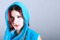 Young arabic woman in wearing islamic scarf portrait of Stock Images