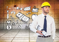 Young architect posing with hard hat and plan composite image of Stock Image