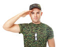 Young army soldier saluting Royalty Free Stock Photo