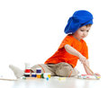 Young artist child with paints Royalty Free Stock Photo
