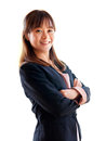 Young asia businesswoman crossarm isolated Stock Photography
