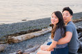 Young Asian American Couple on Beach Royalty Free Stock Photo