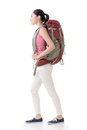 Young asian backpacker side view full length portrait isolated on white Stock Photography