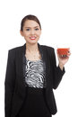 Young asian business woman drink tomato juice isolated on white background Royalty Free Stock Image