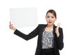 Young Asian business woman  surprise with  white blank sign Royalty Free Stock Photo