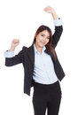 Young Asian businesswoman happy put her hands up Royalty Free Stock Photo