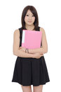 Young asian businesswoman holding file document isolated on white background Royalty Free Stock Photography