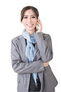 Young asian businesswoman speaking on the cell phone a portrait isolated white background Royalty Free Stock Photos