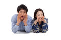 Young Asian couple say something Royalty Free Stock Photos