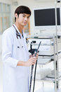 Young asian doctor in hospital portrait Royalty Free Stock Image