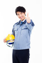 Young asian engineer showing thumb isolated on white Royalty Free Stock Photo