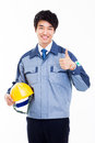Young asian engineer showing thumb isolated on white Stock Photography