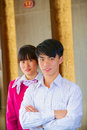 Young asian front desk managers indoor hotel receptionists Stock Photos