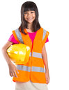 Young Asian Girl With Hard Hat And Vest I Royalty Free Stock Photo