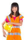 Young Asian Girl With Hard Hat And Vest II Royalty Free Stock Photo