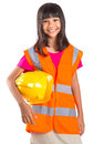 Young Asian Girl With Hard Hat And Vest III Royalty Free Stock Photo