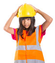 Young Asian Girl With Hard Hat And Vest IV Royalty Free Stock Photo