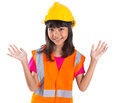 Young Asian Girl With Hard Hat And Vest IX Royalty Free Stock Photo
