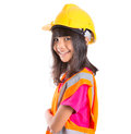 Young Asian Girl With Hard Hat And Vest VI Royalty Free Stock Photo