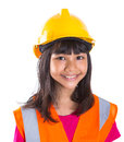 Young Asian Girl With Hard Hat And Vest VIII Royalty Free Stock Photo