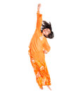 Young asian girl jumping happily xii malay wearing a traditional malay dress the baju kurung Royalty Free Stock Photo