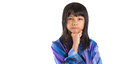 Young asian girl in malay traditional dress iii preteen baju kurung over white background Stock Images