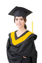 Young asian graduation woman in mantle Royalty Free Stock Photo